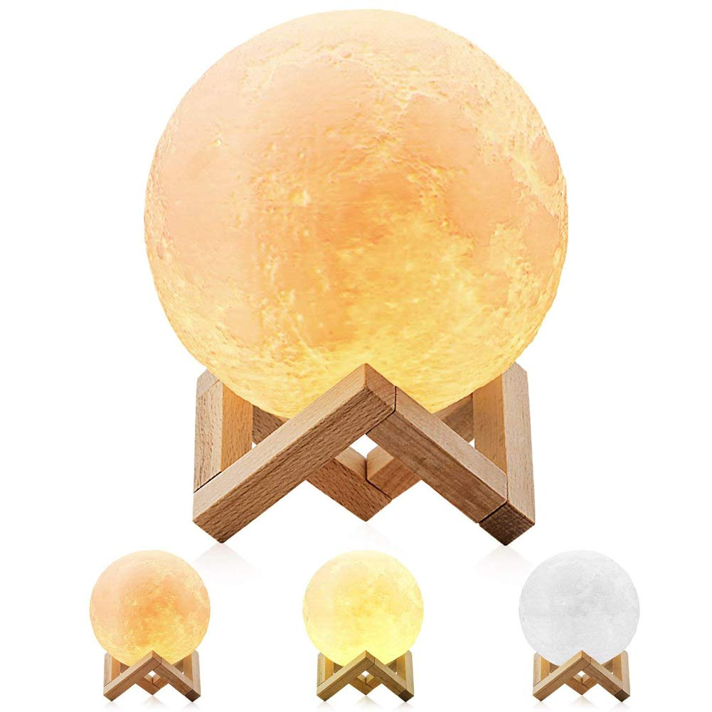 Extra Large 11'' 3D Moon Lamp,Mayround Full Moon Lamp,3D Modern Floor Lamp[Button Control][Rechargeable][USB Charging]Yellow/Cool White/Light Yellow Moon Light Lamp,Home Decorative Lamp (28cm)