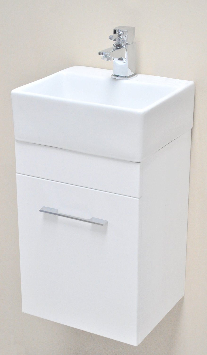Salina Mito White Square Basin Wall Hung Cloakroom Furniture Vanity Unit Compact Mini 330 X 290 + York Mini Tap Waste E-PLUMB SALINA+MITOWHWHITE+Y07