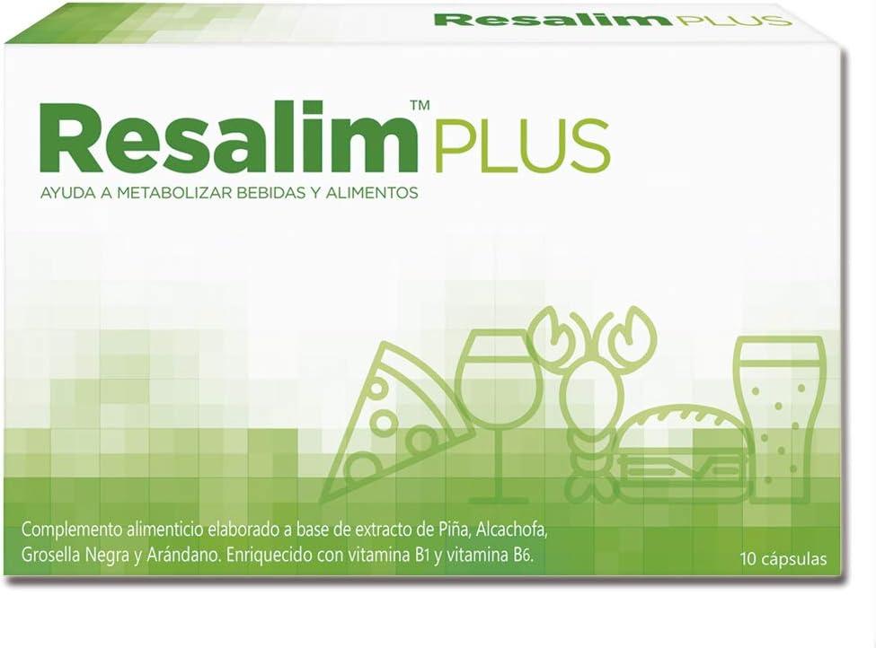 Resalim Plus 10 Cápsulas - Suplemento Natural | Anti-Resaca y Digestiones Pesadas Para Levantarse Bien | Disminuir Cansancio y Fatiga | Con Extractos Vegetales | Vitaminas B1 y B6