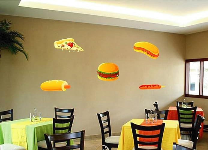 Amazon.com: cik738 Full Color Wall decal Pizza fast food hamburger ...