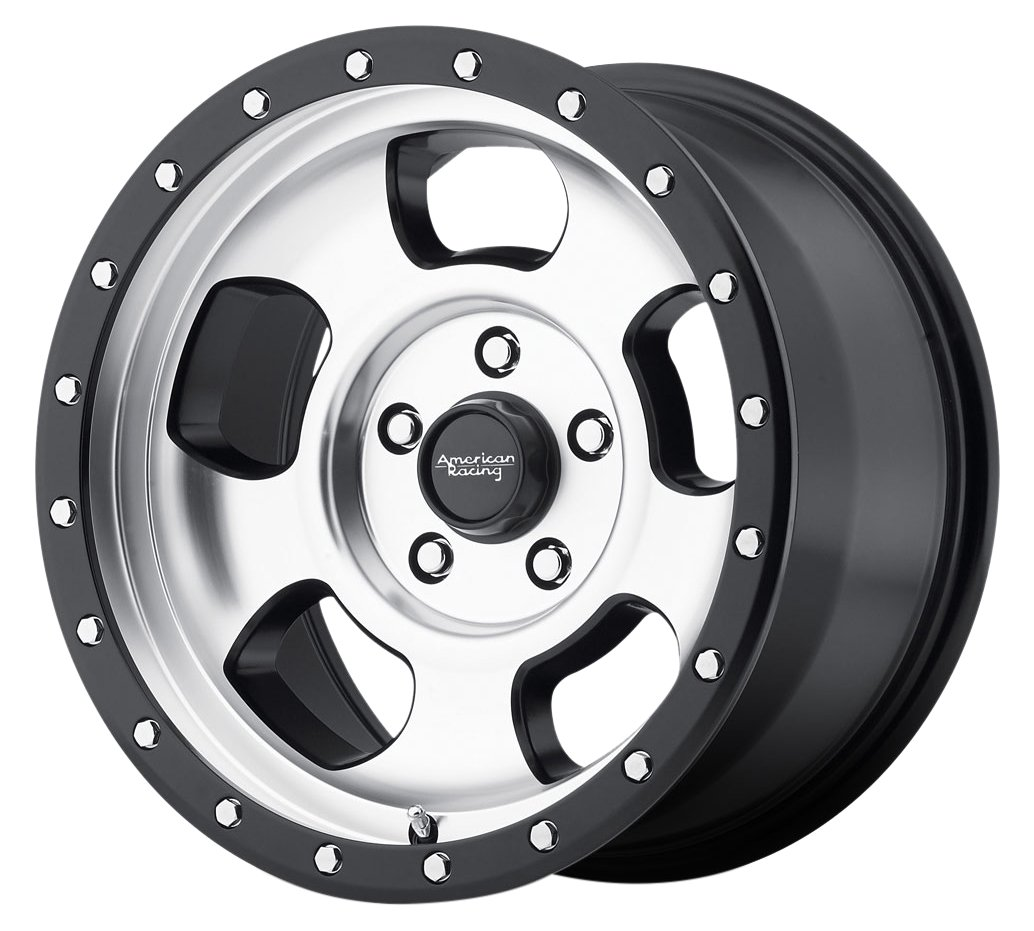 American Racing AR969 Ansen Off Road Wheel with Machined Finish and Satin Black Ring (17x8''/6x135mm, 0 offset)