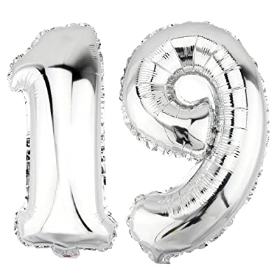 DekoRex® 19 Globo en argentado 40cm de Alto decoración cumpleaños para Aire número: Juguetes y juegos