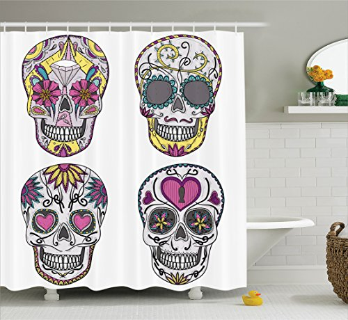 Ambesonne Skulls Decorations Shower Curtain Set, Colorful Ornate Mexican Sugar Skull Set with Flower and Heart Pattern Calavera Humor Art, Bathroom Accessories, 69W X 70L Inches, White ()