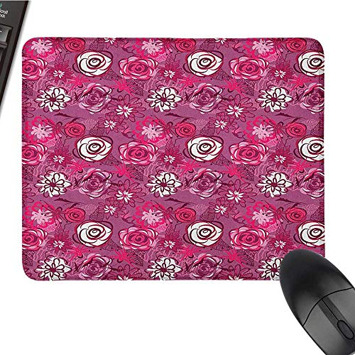 Office Mouse Pad Garden Art,Blooming Flowers Abstract Composition Coming of The Spring Theme, Fuchsia Maroon Purple Black Cloth Mousepad 15.7 x23.6 INCH -