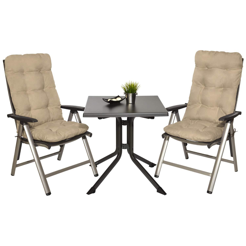 Beige spiaggine e poltrone Beautissu Set di 2 Cuscini per Sedia a Sdraio Flair HL 120x50x8cm Extra Comfort per sedie reclinabili