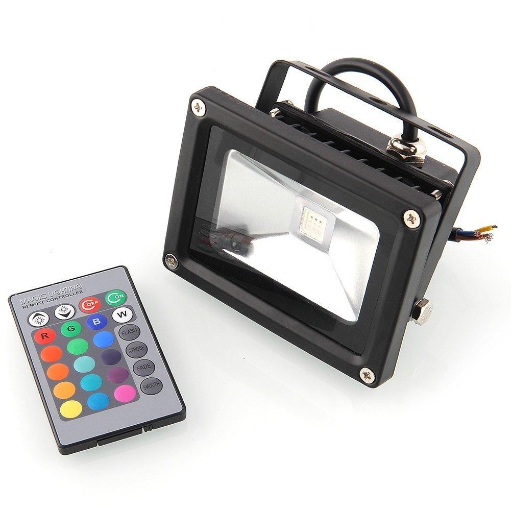 amzdeal® Foco Proyector LED 10W RGB- Foco proyector de exterior ...