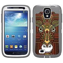 Skin Decal for Otterbox Defender Samsung Galaxy S4 Case - Aztec Giraffe Head Orange