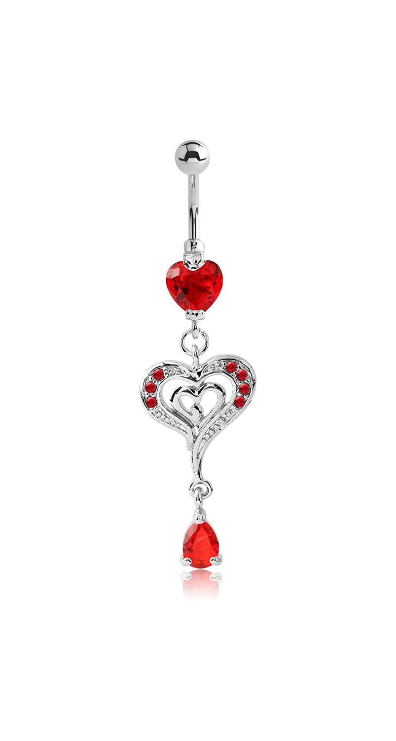 Heart 14g Multiple Style Pupick Bellybutton Ring Body Piercing Jewelry Rhodium Plated Brass Jeweled Navel Banana With Dangling Charm