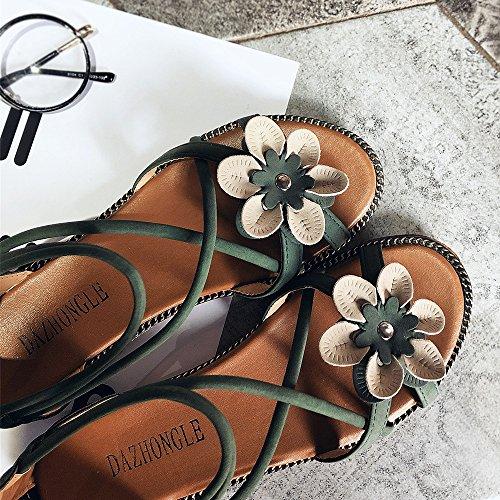 Plage Femmes En Plates Ouverts Sandales Vert Été Homebaby Air sandales Babyhome Avec De Chic Fleur Plates Chaussures Plein Pantoufles Bouts Eazqxn