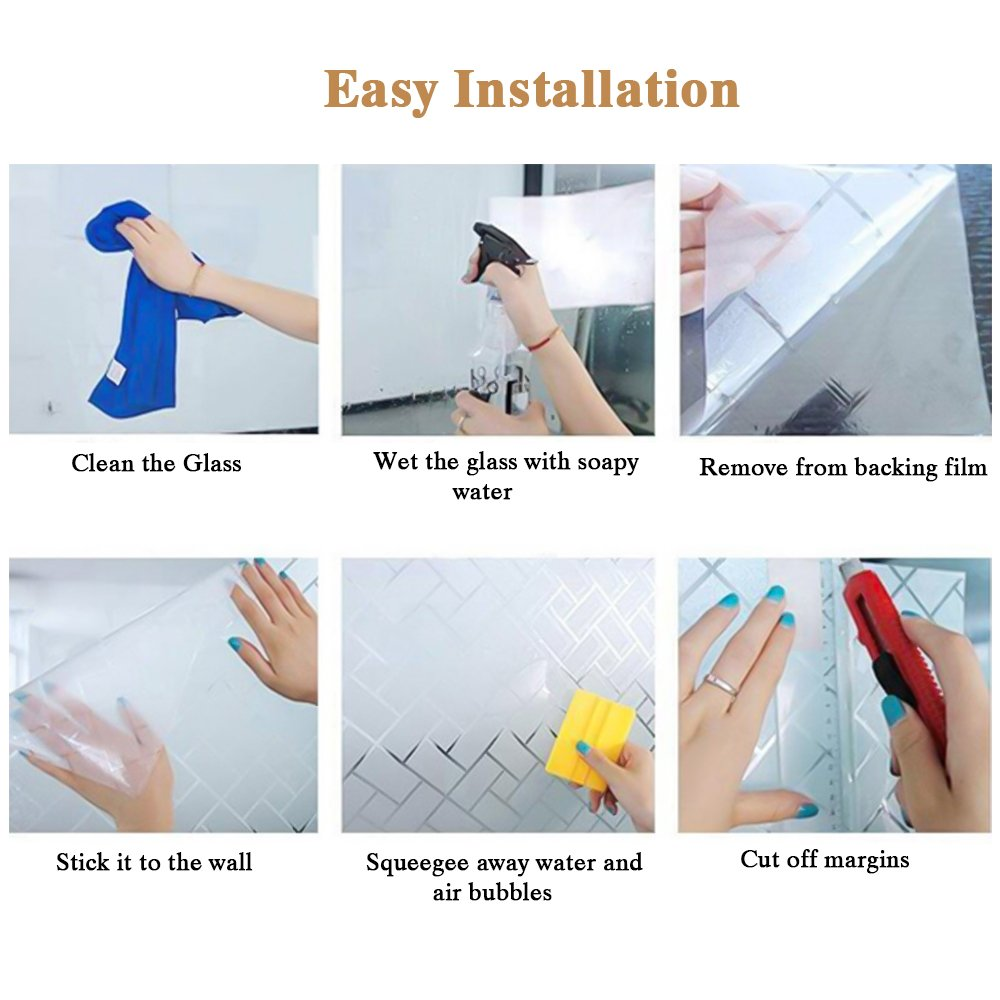 No-glue Static Decor Privacy PVC Window Films Non-adhesive Frosted Glass Sticker Heat Control Anti UV Protective Cover for Home Decor Housolution 2D Window Films Diagonal Plaid 78.7 x 17.7 IN