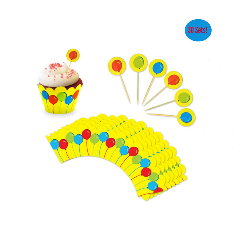 Cupcake Toppers and Wrappers for Boy Girl Birthday – Balloons Party Cupcake Wrappers With Picks - Cupcake Kit – Cute Girl Boy Party Supplies - NO Assembly Required – Set of 30 (Colorful Balloons)