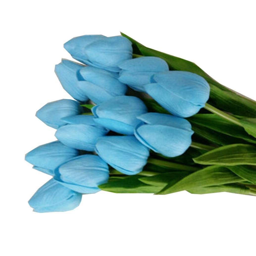 チューリップ人工花ラテックスリアルタッチブライダルWedding Bouquetsホーム部屋オフィスCenterpieceパーティーウェディングの装飾 ブルー B07CKQC55L  ブルー