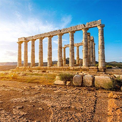 OFILA Ancient Greek Backdrop 6.5x6.5ft Poseidon Temple Photo Background Roman Empire Architecture Civilisation Culture Ancient Ruins Columns Historical Building Archaeological Research Class Props