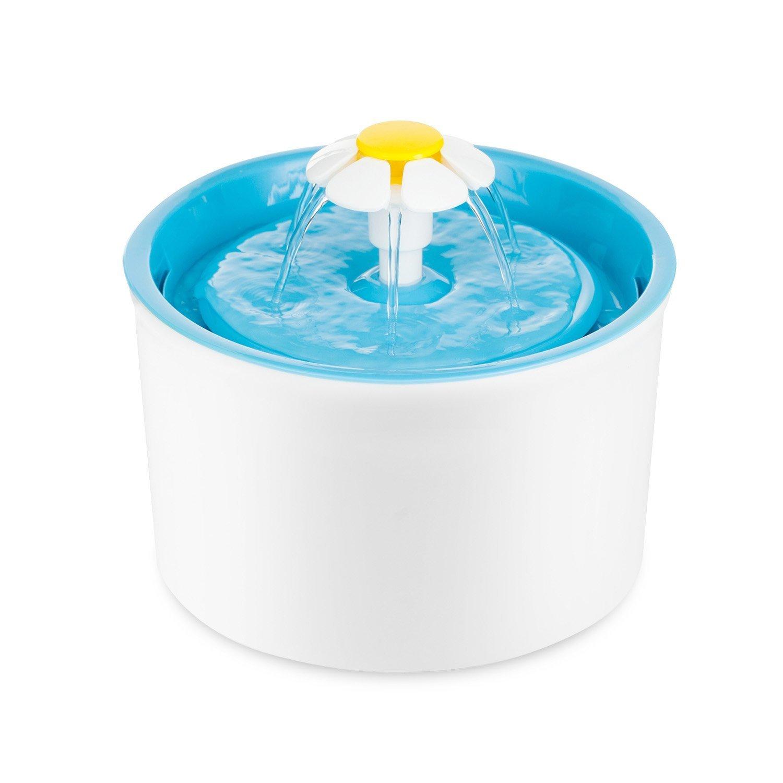 Fontaine à Fleur pour Chat Automatic Electric Flower 1.6 L Pet Water Fountain Drinking Bowl bleu Eleoption