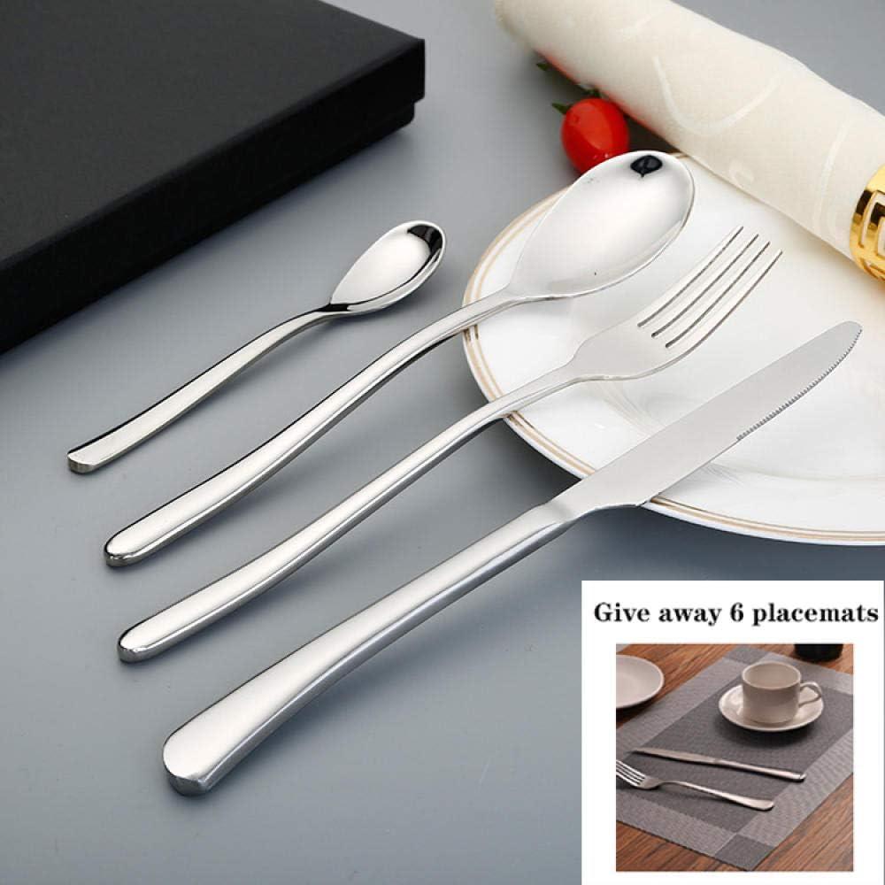 Set de Cubiertos de Mesa 24 Piezas, Juego de Tenedor y Cuchara de Cuchillos de Acero Inoxidable para Restaurante, Hotel, Buffet, Viajes-Plata