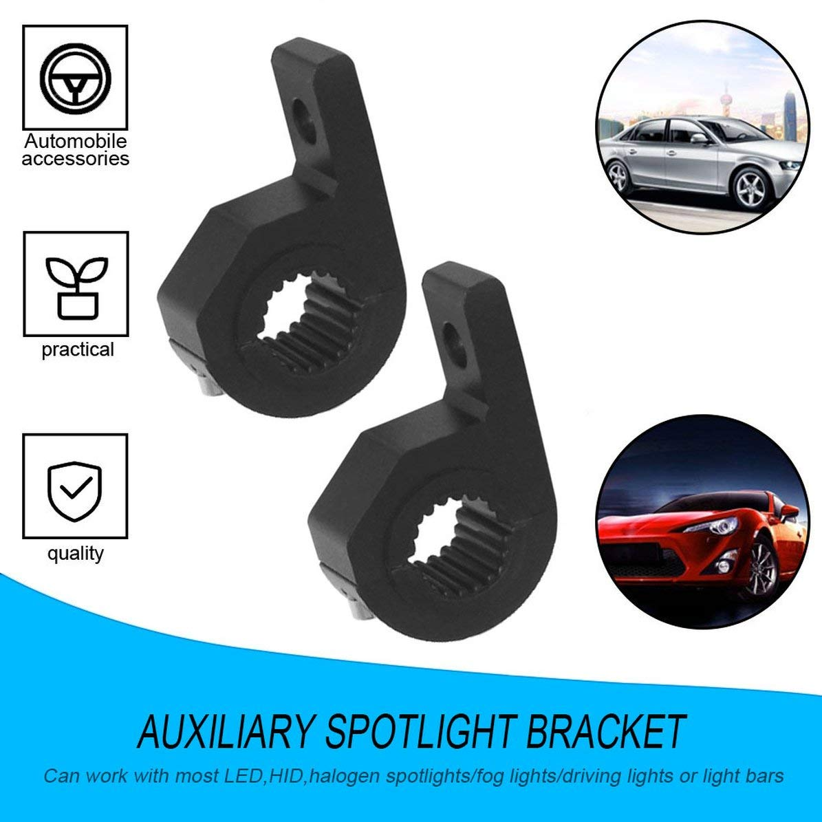 2pcs Bull Bar Mount Bracket Brouillard Conduite Lumi/ère Spotlight Support De Pince Universelle 15-30mm pour Voiture Moto Crash Bar Garde noir WEIWEITOE