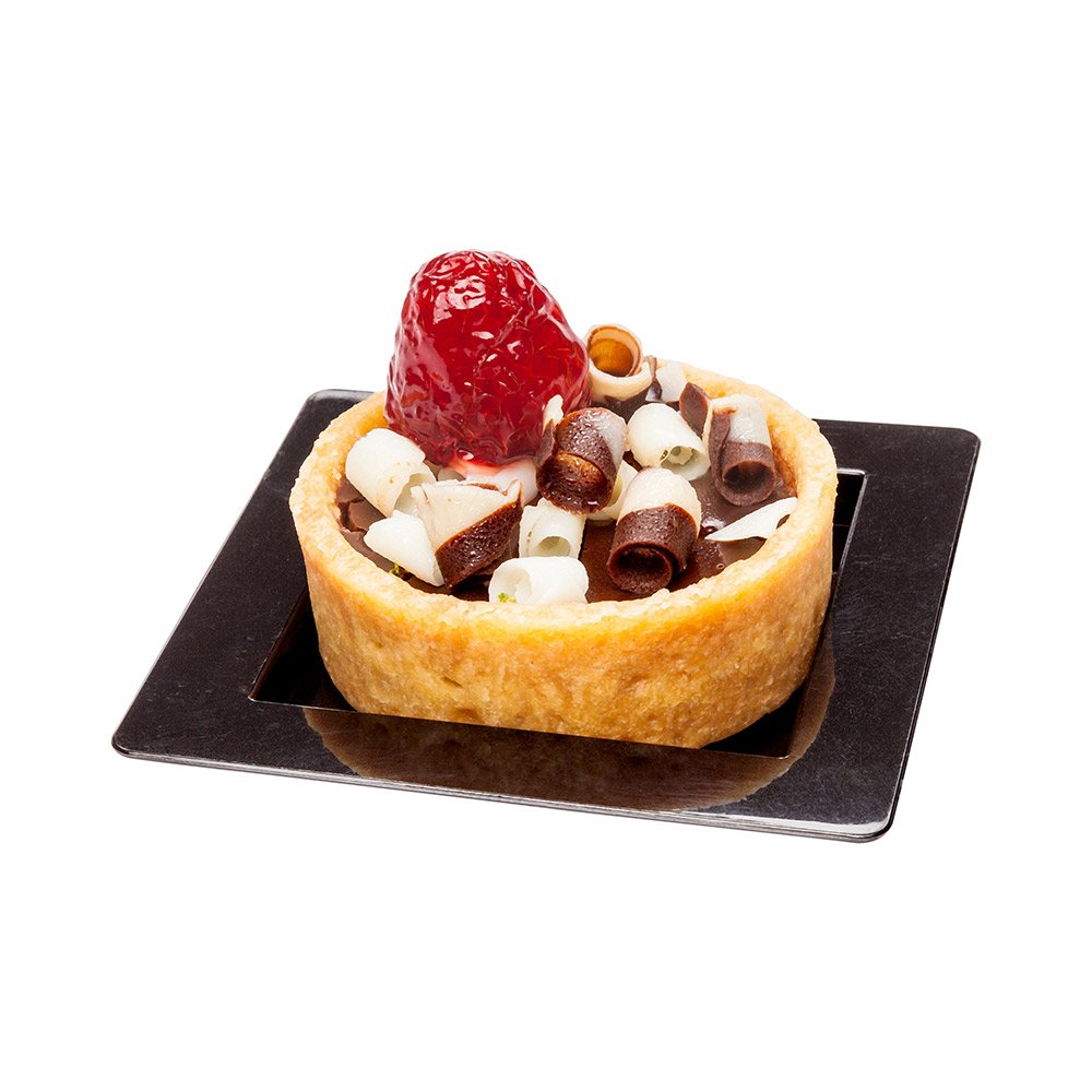 Mini Edge Plate - Square, Black - 2.8'' with a Raised Edge - Plastic Edge Plate for Desserts, Appetizers and More - 100ct Box - Restaurantware