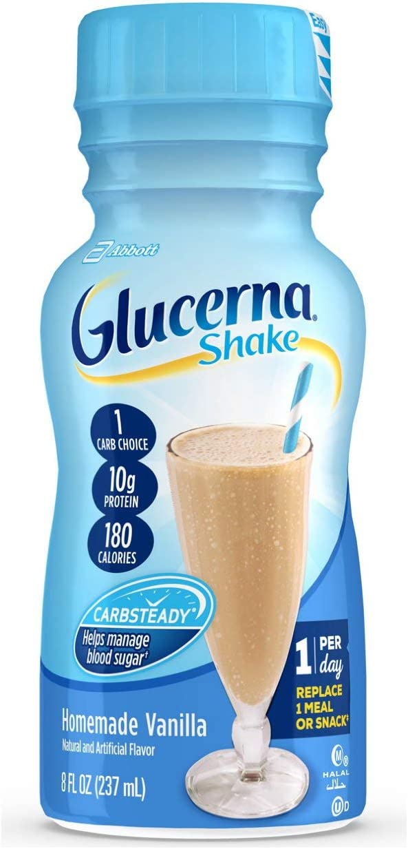Glucerna, Diabetes Nutritional Shake, To Help Manage Blood Sugar, Homemade Vanilla, 8 fl oz (Pack of 24)