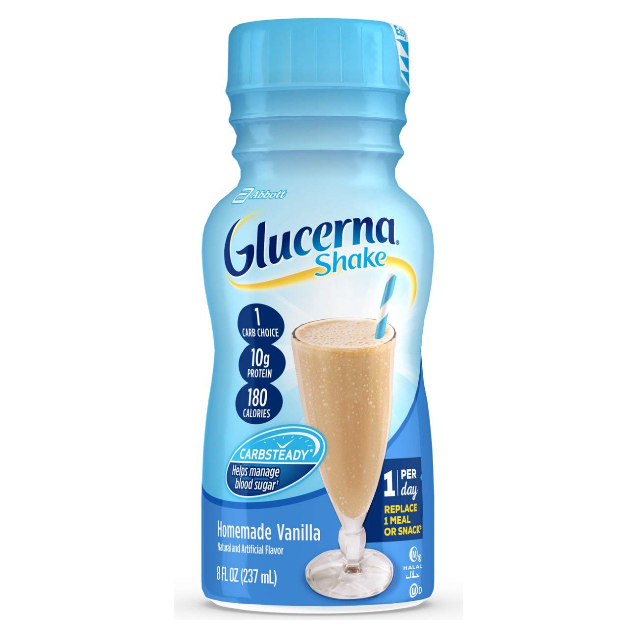 Glucerna, Diabetes Nutritional Shake, With 10g of Protein, To Help Manage Blood Sugar, Homemade Vanilla, 8 fl oz, 24 Count
