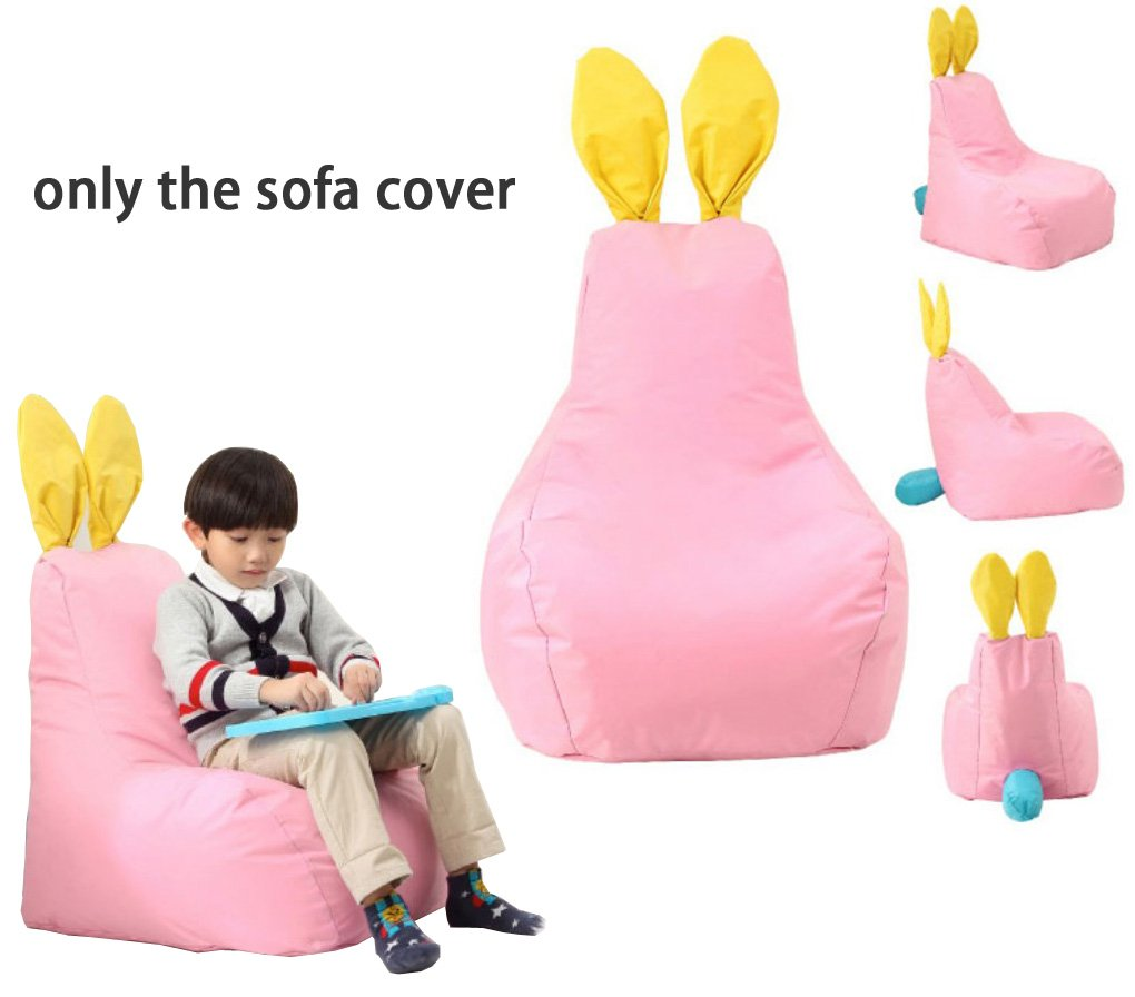 Quwei Children Cartoon Rabbit Leisure Creative Rolling Backseat Bean Bags Sofa Sets (pink)