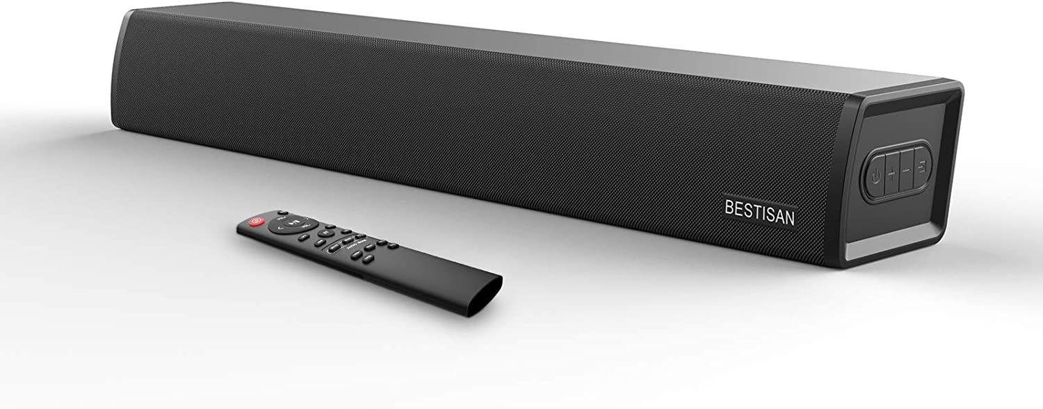 Sound Bar, Bestisan Soundbar with Built-in Subwoofer, Wired & Wireless Bluetooth 5.0 Home Audio for TV, 3 Equalizer Modes Surround Sound System, 24-Inch, Bass Adjustable, 60W, Optical/Coax/Aux/USB