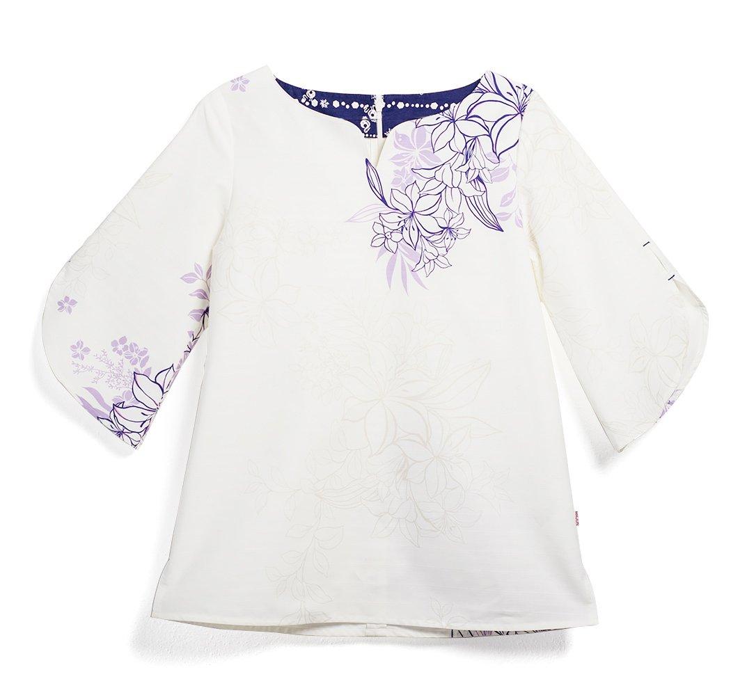 MAJUN (マジュン) かりゆしウェア アロハシャツ かりゆし 結婚式 レディース シャツ ボタンダウン レイルリリー (ラッパ袖TU) B07BNGVQBT 4L|ホワイト/パープル ホワイト/パープル 4L