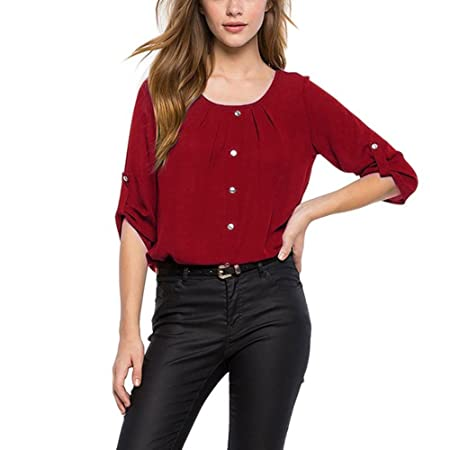 Amazon.com : Clearance!HOSOME Women Top Womens Summer Autumn Women Solid Color Fashion Women Lady Loose Long Sleeve Chiffon Casual Blouse Shirt Tops Blouse ...