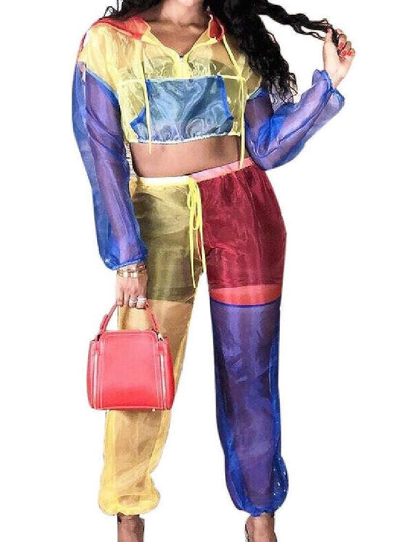 BU2H Women Splice Transparent Mesh Color Block Hoodie 2 Piece Jumpsuit Outfits