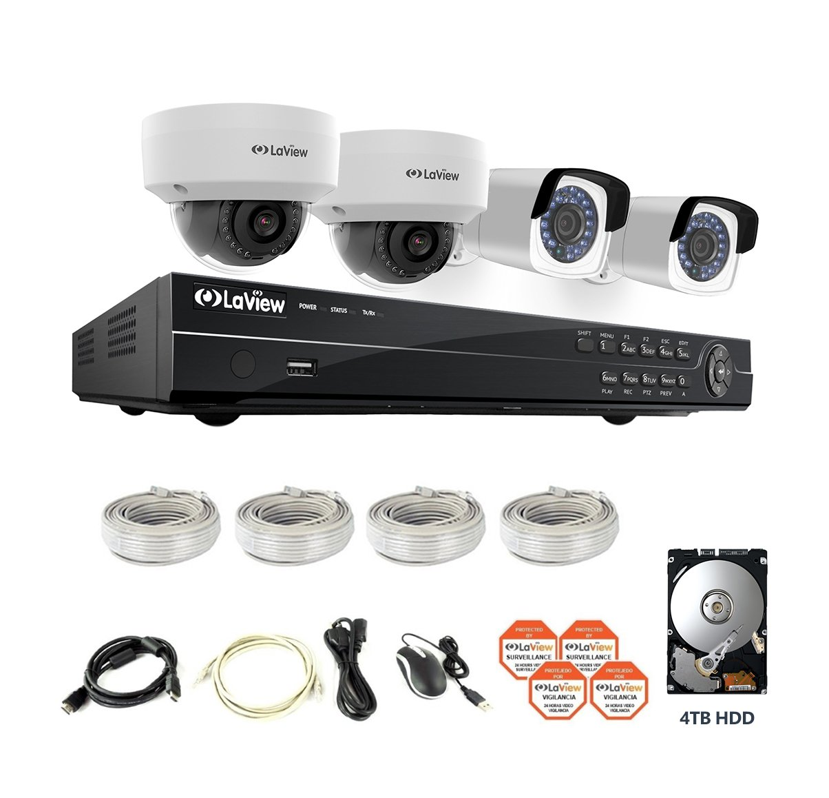 Amazon.com : LaView 4-Megapixel (2688 x 1520) 8CH PoE NVR Security Cameras System - 4 4MP Security Camera System - 2 4MP Bullet and 2 4MP Dome IP ...
