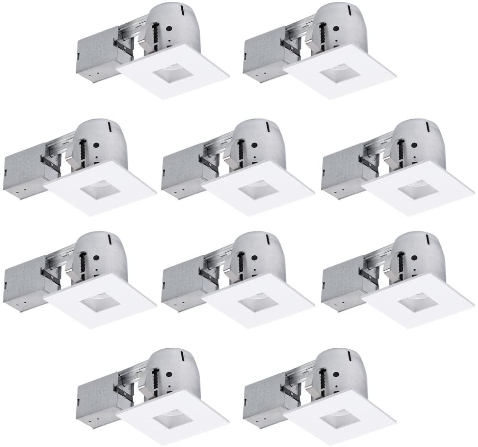 "Globe Electric 4"" Die-Cast Swivel Baffle Square Trim Recessed Lighting Kit 10-Pack, White, Easy Install Push-N-Click Clips, 3.88"" Hole Size 90872"