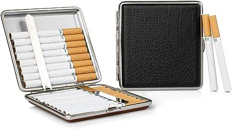 2 x Estuche de Cigarrillos Negro Hecho de Metal Cuero de la PU, Elegante Estuche de Cigarrillos Negro Reservado Gracias a la aplicación en Negro: Amazon.es: Deportes y aire libre