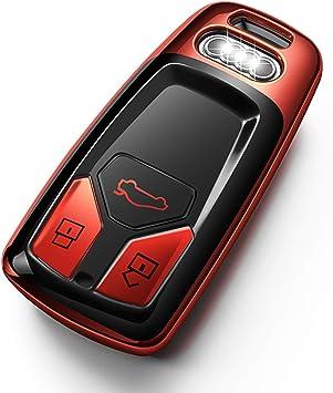 Tukeller Für Audi Schlüsselanhänger Abdeckung Speziell Weiche Tpu Kompatibel Mit Audi A4 Q7 Q5 Tt A3 A6 Sq5 R8 S5 Smart Key Nur Keyless Go For Triangle Sort Button Red Bürobedarf Schreibwaren