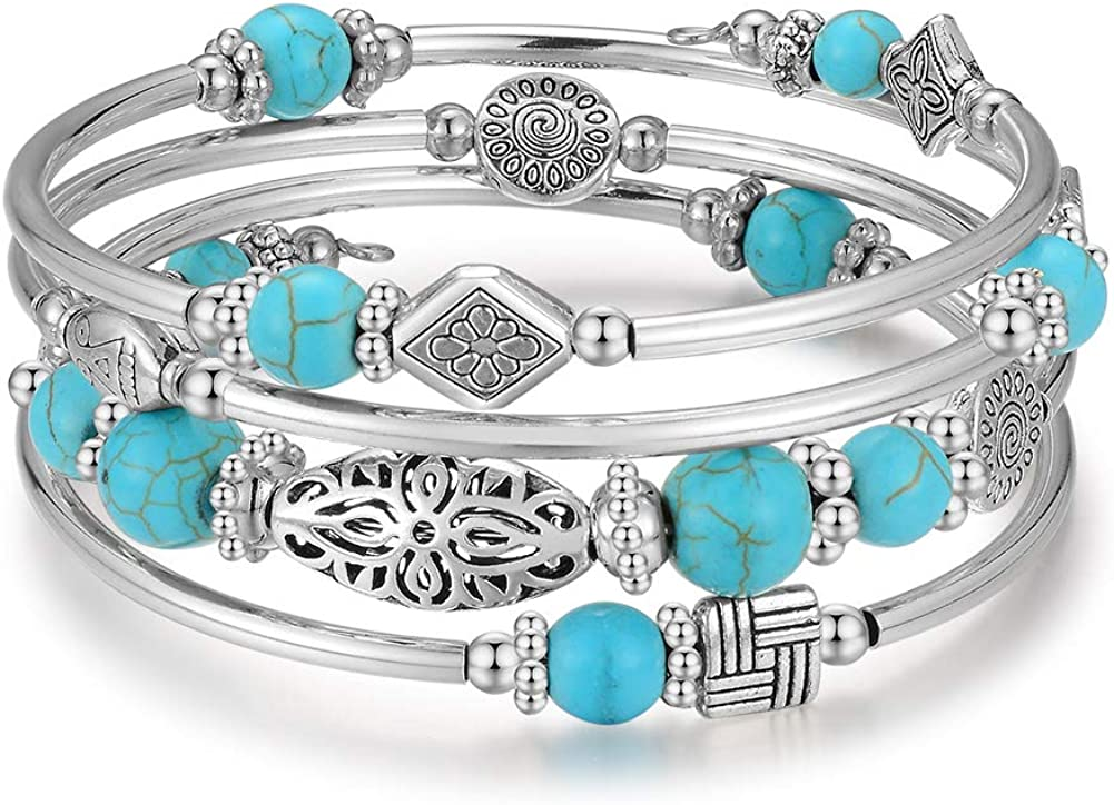 Multilayer Turquoise Bead Bracelet with Leaf Charm Bohemia Style Antique Silver Bangle for Women Girls