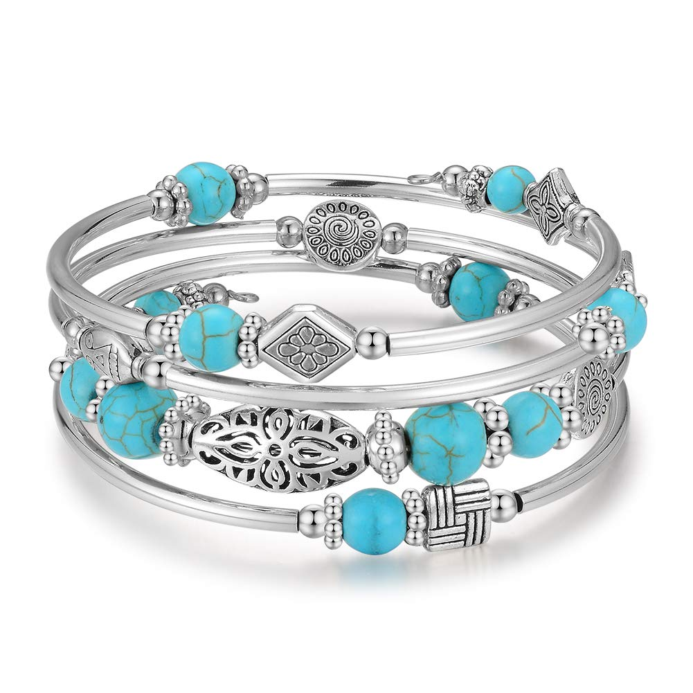 Layered Wrap Bangle Turquoise Bracelet - Bead Bracelet with Natural Agate Stone Gifts for Women