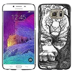 Caucho caso de Shell duro de la cubierta de accesorios de protección BY RAYDREAMMM - Samsung Galaxy S6 SM-G920 - Art Drawing White Forest