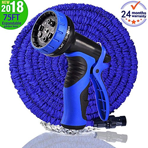 MTNZXZ Garden Hose, Newest 75 FT Expandable Heavy Double Latex Flexible Hose – 9-Pattern High Pressure Water Spray Nozzle. Suitable for Wash Cars, Clean Walls, Watering Lawns and Garden Plants, etc.