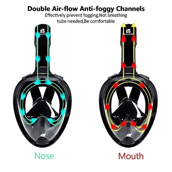 Snorkel máscara, kenmu 180 ° Viewing GoPro silicona diseño de respiración Full Face máscara de buceo con antiniebla y protección contra fugas.