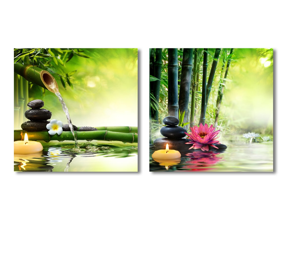 wall26 Canvas Wall Art - Spa Stones in Garden Flow Water   Modern Home Decor 2 Panel Canvas Prints Giclee Printing & Ready to Hang - 16''x16'' x 2 Panels