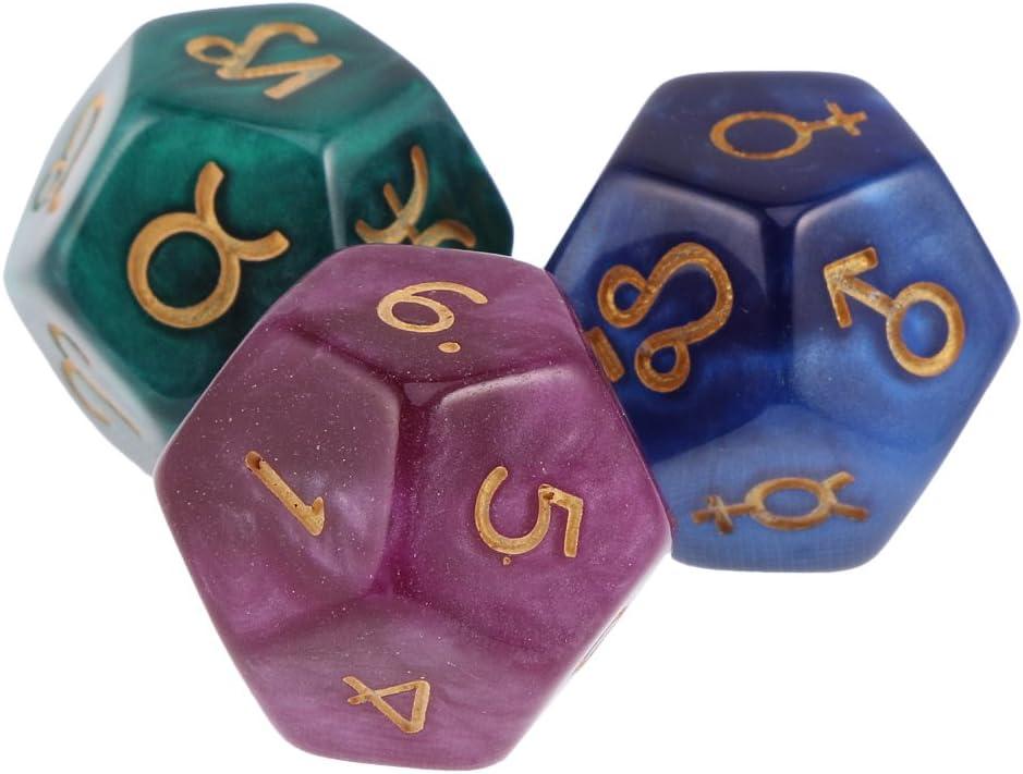 Sharplace Lot de 12 Pi/èces D/és D12 Astrodice Astrologie D/és en Acrylique pour Jeux de Divinatoire /& Fortune