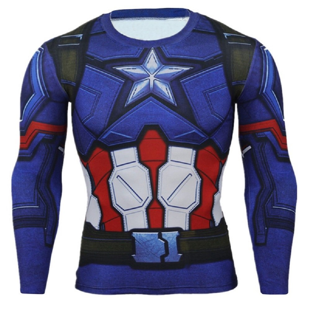 Cosfunmax Superhero Captain Team Leader Compression Shirt Sports Gym Ruining Base Layer XL
