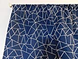 Navy and white geometric shapes curtain – 2 panels/ Tiers – Window / Kitchen, Baby boy nursery, sea theme, basement, office kids classroom, cafe curtains 36″L