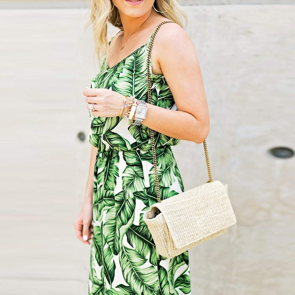 Womens Sleeveless Spaghetti Strap Long Jumpsuits Leaf Print Wide Leg umpsuit Ladies Casual Playsuit
