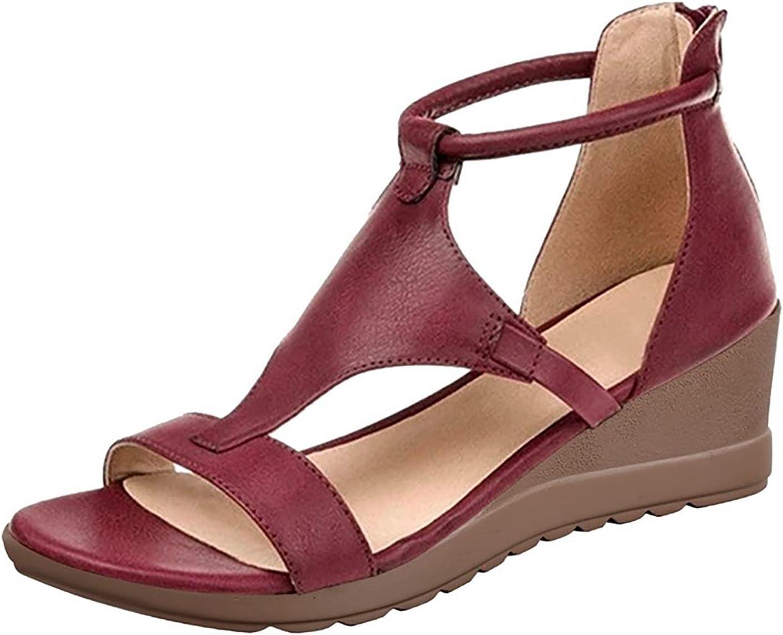 BTKD Sandalia de Mujer Mujer Casual Verano Confort Sandalias Deslizantes Sandalias Planas de Cuero de Imitación Chanclas Zapatos para Deportes Al Aire Libre,Rojo,38