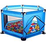 Baby Kids Playpen Activity Center Room Fitted Floor - with 50 pcs Balls Safety Protection Care Crawling Folding Fence Toys Portable Indoors Outdoors and Parks Gifts (Blue)