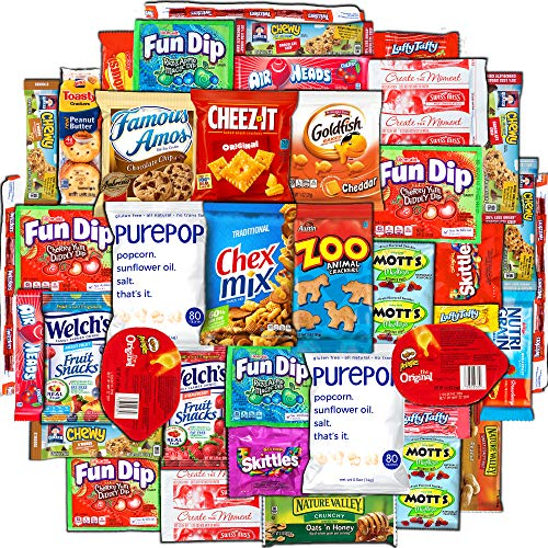 Canopy Snacks 40 Count Ultimate Care Package Variety Box Gift Pack Assortment Basket Bundle Mixed Bulk Sampler Treats Bars Chips Candy Cookies College Finals Students Office Trip Summer Camp Boy Girl]()