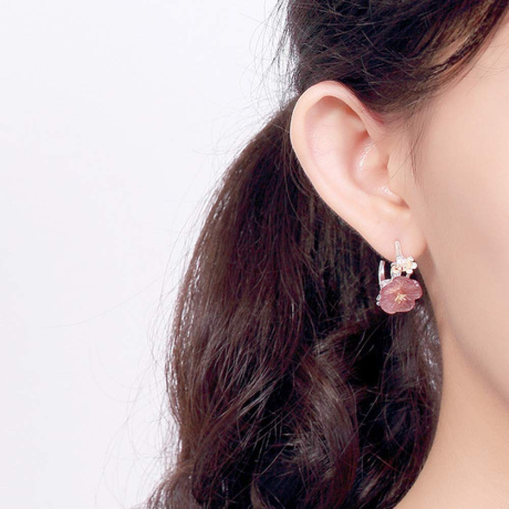 Weiduoli S925 Sterling Silver Inlaid Natural Crystal Plum Styling Ladies Earrings Simple Ear Jewelry
