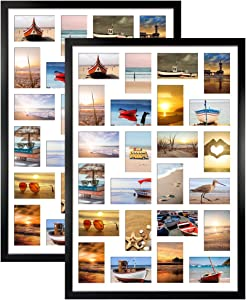 HORLIMER 2 Pack 4x6 Picture Frames Collage with 24 Openings, Multi Photo Frame for Wall Hanging, Black