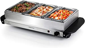 Ovente Electric Buffet Server Three Sectional Stainless Steel Food Warmer Tray, Heated Removable Warming Frame and Adjustable Warming Dial for Indoor or Outdoor Use, Silver (FW173S)