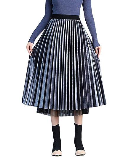 Quge Mujer Midi Falda Plisada A-Línea Trapecio Reversible Faldas ...