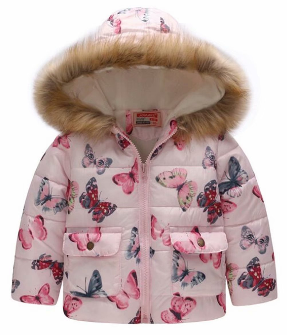 EGELEXY Kids Snowsuit Toddler Girl Winter Coat Fleece Lining Fur Hooded Thickened Jacket Size 1-2 Years/Tag90 (Pink2) by EGELEXY